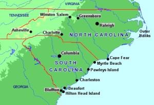 carolinas map